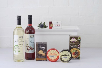Cheese and wine Scottish hamper